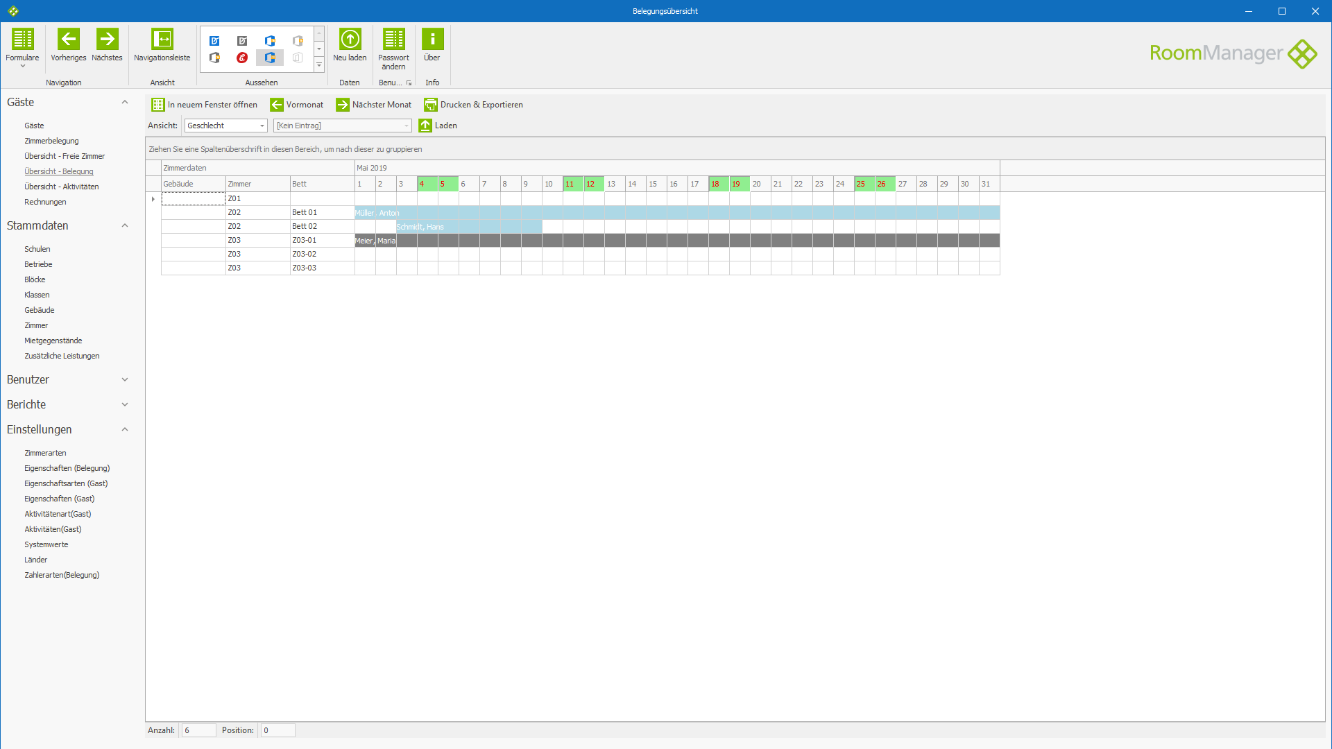 Wohnheimverwaltung -  Hospitality Management - RoomManager - Software Screenshot #1